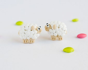 Sheep stud earrings - white animal jewelry - Gift for knitter - Cute earrings for nature lovers