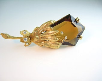 Vintage Hattie Carnegie Flower Brooch / Topaz Glass / Trembler Rhinestones / Statement 1960s Jewelry