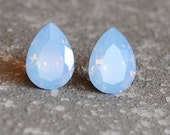 Powder Blue Opal Earrings Swarovski Crystal Opal Studs Small Duchess Pear Mashugana
