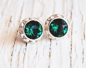 Emerald Halo Earrings Holiday Christmas Green Studs Swarovski Crystal Emerald Studs CLip on Emerald Bridesmaid Sugar Sparklers Wedding Gift