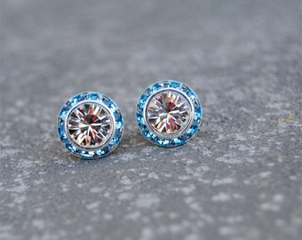 White Diamond Aqua Studs Sugar Sparklers Small Swarovski Crystal White Diamond Aqua Rhinestone Stud Earrings Mashugana