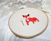 "Red Fox - 8"" Embroidery Hoop Art Wall Hanging - By Jennifer Star"