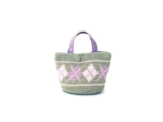 Cotton mini purse crochet with plaid motives, crochet hand bag, lilac purple bag