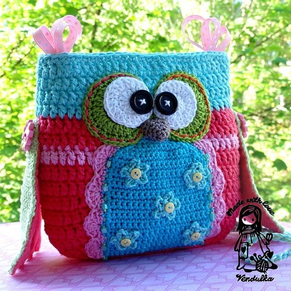 Crochet Owl Bag Pattern Free : Owl purse crochet pattern purse DIY by VendulkaM on Etsy