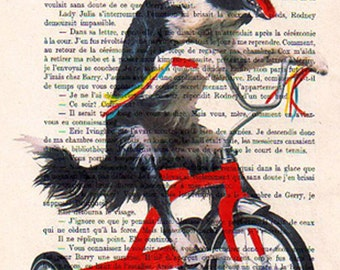 Doggy on red bicycle:Art Poster Digital Art Original Illustration Giclee Print Wall art Wall Hanging Wall Decor Animal Painting