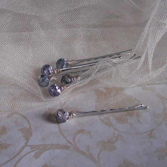 Violet Crystal Hair Pins - Set of Six - Made to Order - Bridal Bride Bridesmaid Flower Girl - Romantic Wedding