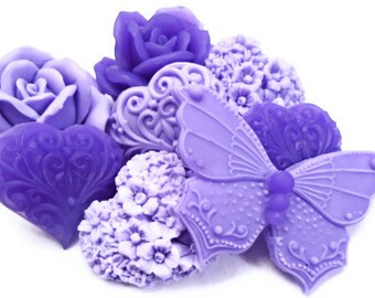 Decorative Gift Soaps - Lilacs Flower Soaps - Purple Flowers - Hearts - Butterfly - Set of 10