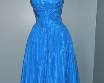 Vintage 50s Party Dress Electric Blue Formal Prom Dress Hollywood Glamour VLV Asymetrical Shelf Bust Winged