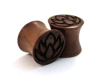 "Lotus Walnut Wooden Plugs 2g (6mm) through 1 3/4"" (44mm) including 0g (8mm) 00g (9mm) (10mm) 7/16"" 1/2"" 9/16"" 5/8"" 3/4"" 7/8"" wood ear gauges"