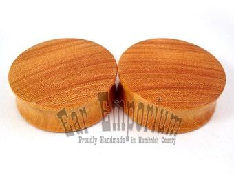 Osage Orange Wooden Plugs - PAIR -  2g (6.5mm) through sizes 2'' (51mm)