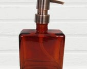 Rustic Soap Dispenser Square Amber Glass Soap Dispenser Lotion Dispenser Bronze Copper Chrome Stainless Steel Soap Pump