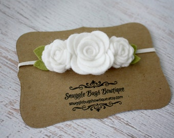White Felt Flower Headband - Trio of  Roses Headband  in White  - Newborn Baby to Adult - Baptism, Wedding, Christening