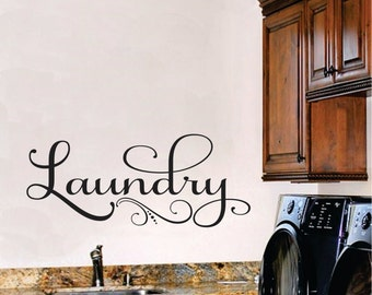 Laundry Wall Decal, Laundry Room Decor Vinyl Wall Art, Laundry Vinyl Lettering