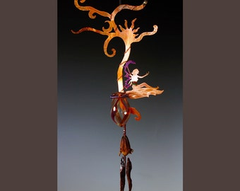 Tree Fairy Sculpture with Wind Chime & Potion Bottle