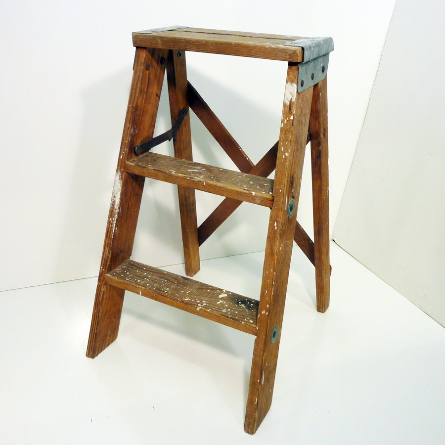 old wooden step stool old paint splashes vintage patina
