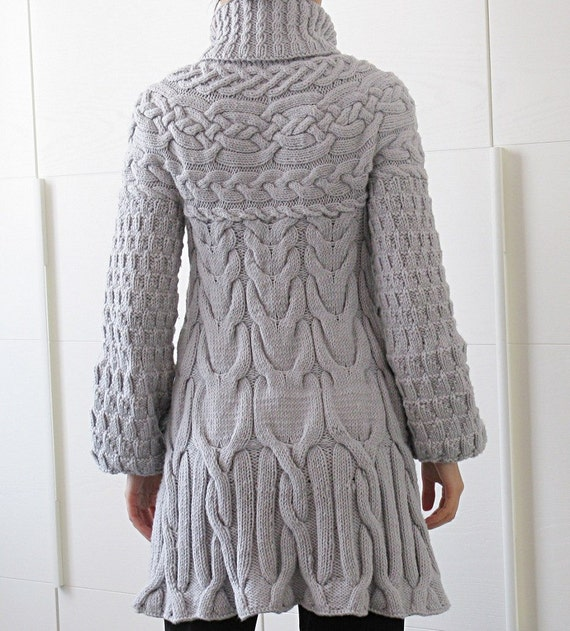 Knitting Sweater Coat - Cardigan With Buttons