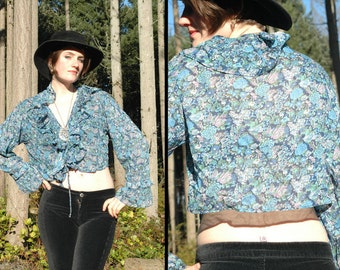 70s BOHEMIAN BABE Floral Flounce Blouse Cropped SHEER Frilly top, Large