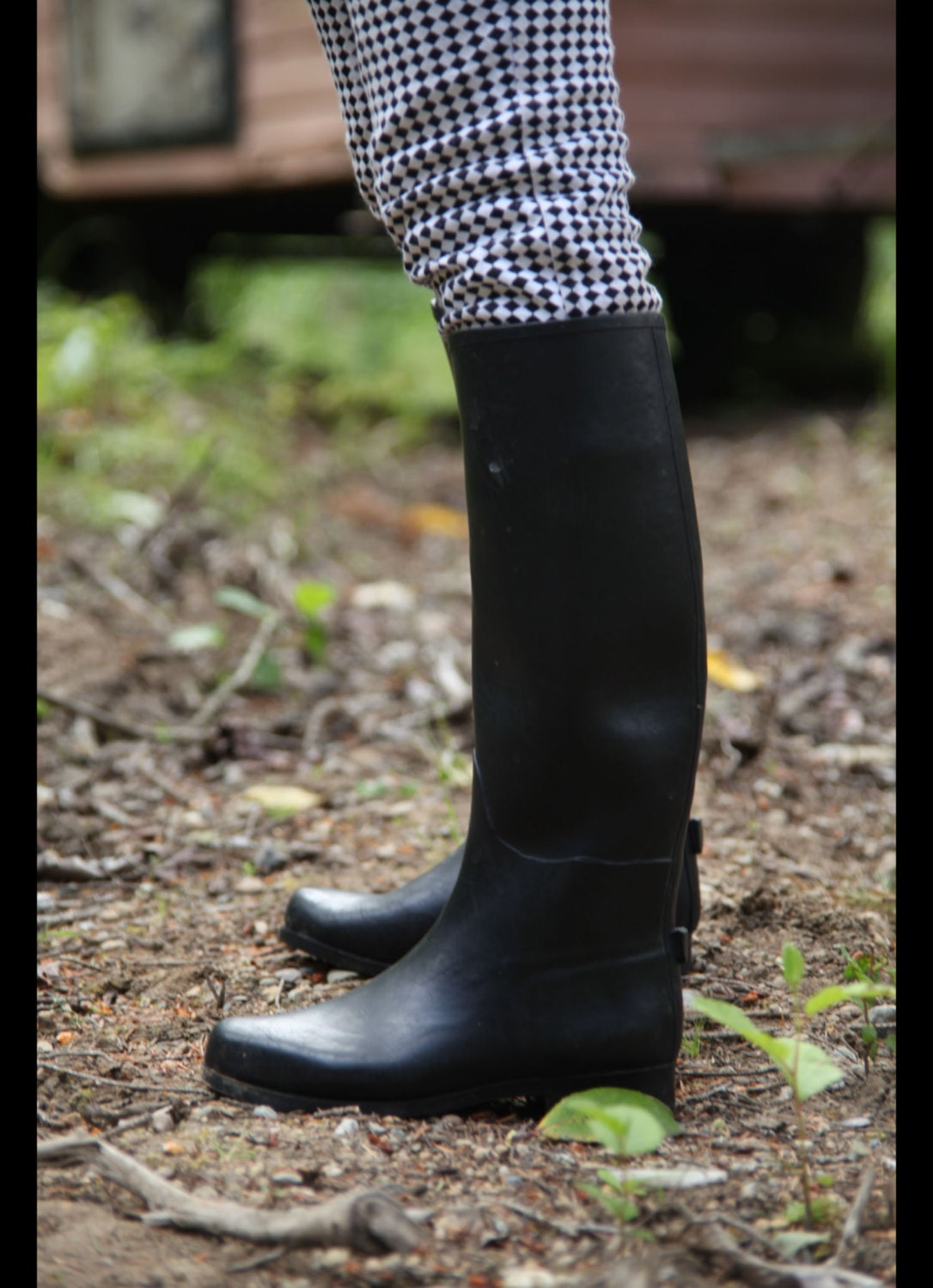 RIDING BOOTS Vintage Rubber EQUESTRIAN Rain Boots Womens