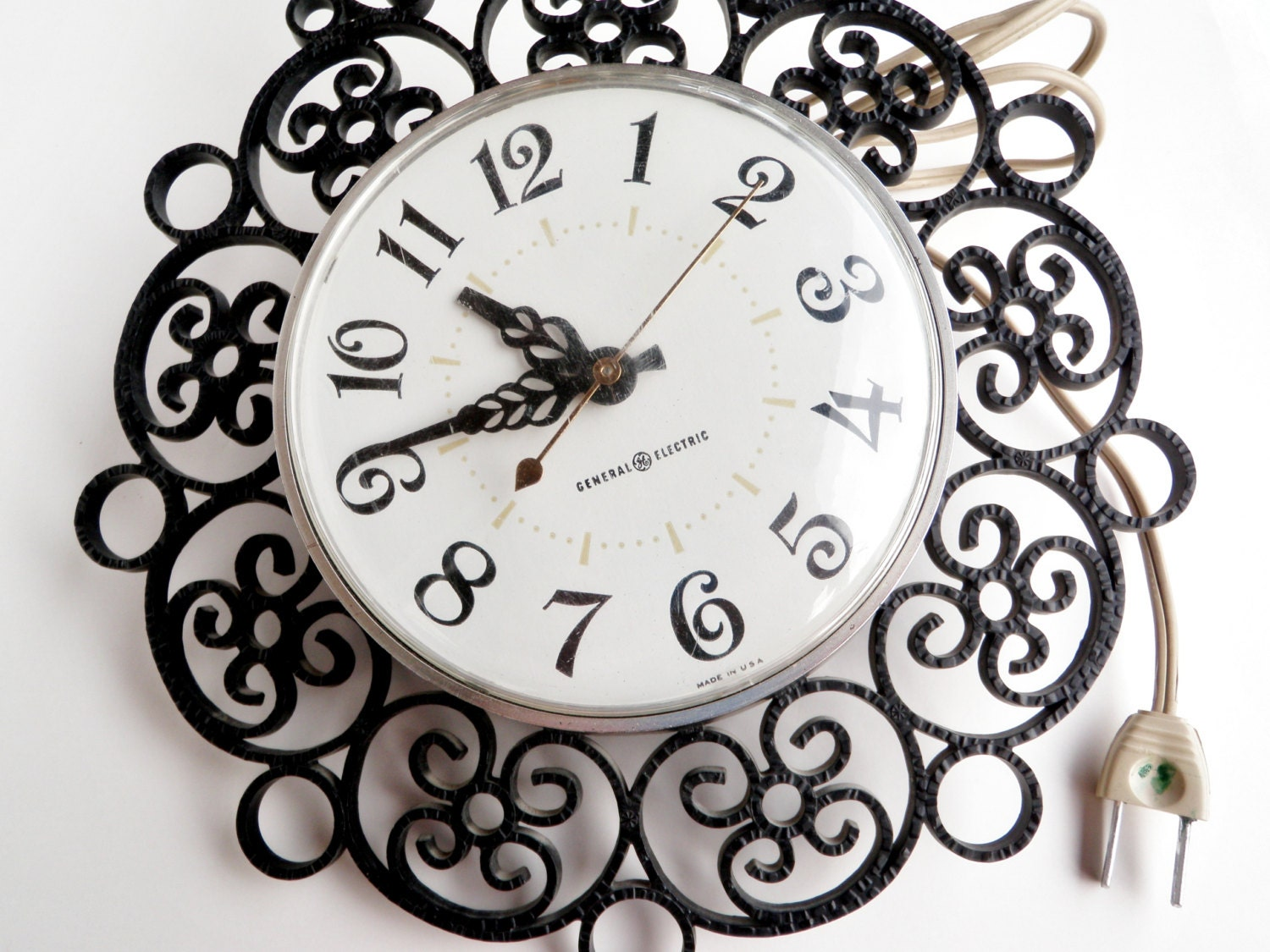 Vintage Electric Wall Clock Black Scroll Work Retro GE USA
