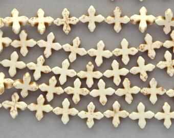 1 strand Howlite Stone Beads Off White FANCY MALTESE Cross 15mm how0038