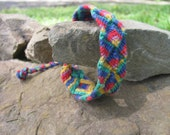 Hand Woven, Reversable, OOAK,  Rainbow ,Cabecar, Costa Rican, Native Indian Bracelet
