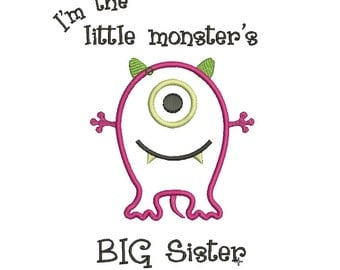 INSTANT DOWNLOAD, Machine Applique Design, Big Sister to Little Brother Monster Sibling Design