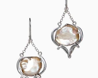 Pearl Sterling Silver Earrings- Pearl Dangle Earrings- Light Pink Pearl- Bridal Earrings- Pearl Wedding Earrings- June Birthstone Jewelry