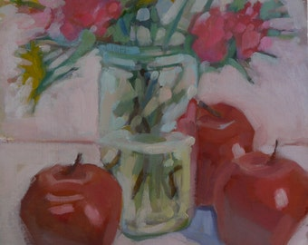 """Oil Painting """"Pinks and Reds"""" Floral Apples"""