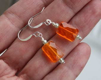Orange and Green Czech Glass Tablet Earrings, Silver Plated Findings, orange earrings, czech earrings, czech bead earrings, czech glass