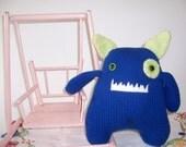 Hand knit Stuffed Toy Monster Blue Green Monster Hand Made