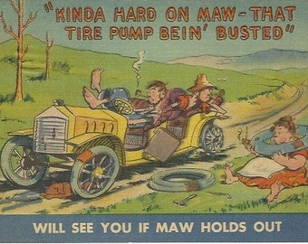 """Vintage Linen Postcard Comical  """"Kinda Hard on Maw - That Tire Pump Bein' Busted"""" - 1940s"""