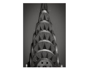 New York Photograph, Chrysler Building, Manhattan, Black and White Photography, Art Deco, Geometric, Gray, Art print, Mother's Day Gift