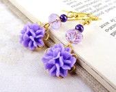 Purple crystal earrings Purple dangle earrings violet lilac flower drop earrings beaded filigree purple wedding purple bridesmaids earrings