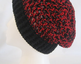 Hand crochet chunky Slouch Beanie red and black