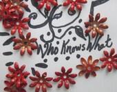 15 Bloody Red Vintage  Metal  Flowers