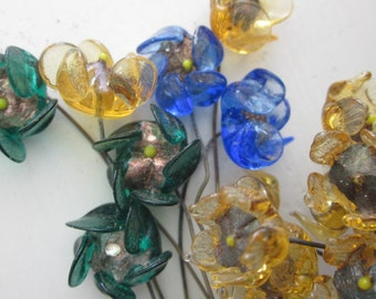 Rare Antique Venetian Glass Flowers On Wire