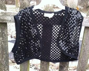 VTG Glentex Black Sequined Cropped Bolero - vest - OOAK