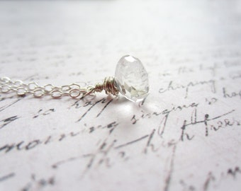 Rock Crystal Necklace, Wire Wrapped Drop Necklace, Swedish Jewelry Design, Made in Sweden, Swedish Wedding Style,Scandinavian Jewelry Design