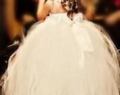 flower girl dress, vintage flower girl tutu dress, custom one shoulder ivory or white tutu dress