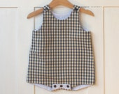SALE -40%, Reversible Baby romper / playsuit / dungarees, vintage blue checks and pale blue stripes