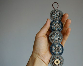 Penny Wool Felt Bracelet Wristband Cuff ø Indigo ø Hand Embroidered ø LoftFullOfGoodies