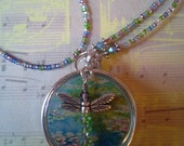 "Beaded ID Lanyard Badge Reel - Claude Monet's ""Water Lilies"" with Swarovski Crystal Dragonfly Charm"