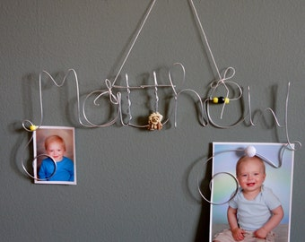 Custom Wire Boy's Name or Word Photo Holder, Picture Frame, Your Choice, Personalized Name Wall Decoration, Hanging Wire Art, Trucks, Cars