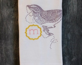"1 ""JEWELED BIRD"" Tea Towels- Monogrammed Towel - Floursack Kitchen Towels -  Bird   - Dish Towel - Tea Towel"