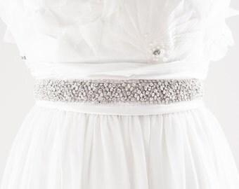 NADIA - Beaded Rhinestone Bridal Belt, Bridal Sash, Wedding Sash, Wedding Belt