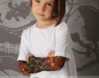 Tattoo Sleeve Tiger Print White T Shirt