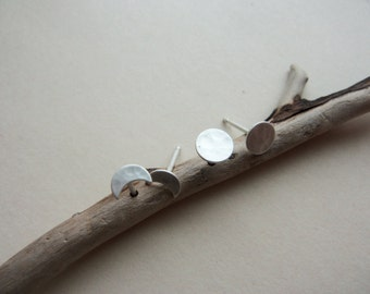 Moon phase Earrings, 1 crescent pair & 1 full moon pair, sterling silver studs