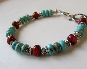 Turquoise Bracelet, red and turquoise, adjustable, stone, czech glass, crystal bracelet