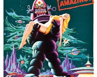 "Forbidden Planet - Classic Sci Fi Movie Poster Print - 13""x19"" or 24""x36"" - Home Theater Media Room decor - 50s kitsch - Robby the Robot"