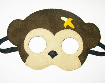 Monkey felt mask - brown- party animal costume - for boys girls - soft dress up play accessory - Theatre roleplay - Gift for kids